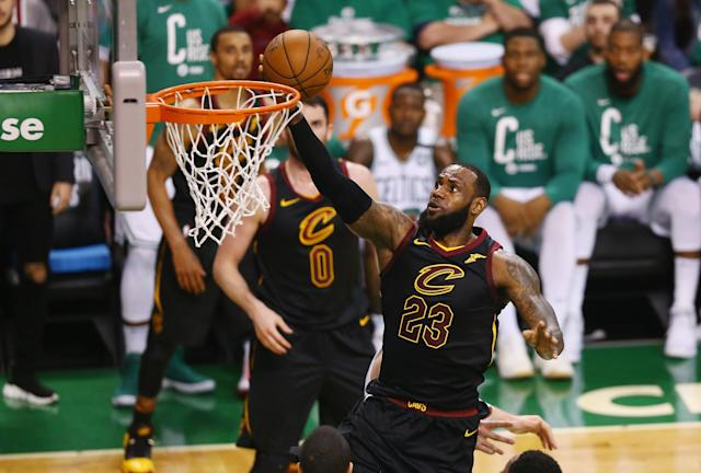 BOSTON, MA - MAY 23: LeBron James #23 of the Cleveland Cavaliers drives to the basket in the second half against the Boston Celtics during Game Five of the 2018 NBA Eastern Conference Finals at TD Garden on May 23, 2018 in Boston, Massachusetts. (Photo by Adam Glanzman/Getty Images)