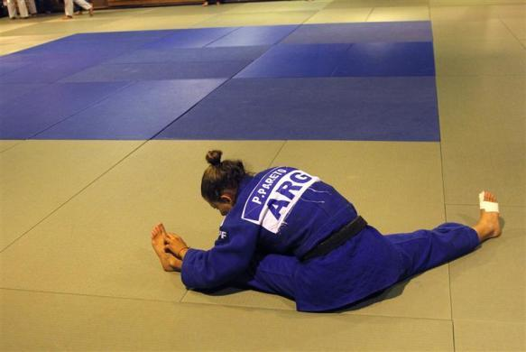 Argentine judoka Paula Pareto stretches during a training session at Cenard Sports Complex in Buenos Aires, March 26, 2012.