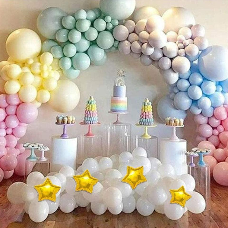 <p>If you love pastels, you need this <span>Magical Rainbow Pastel Balloons Garland Arch Kit</span> ($23).</p>