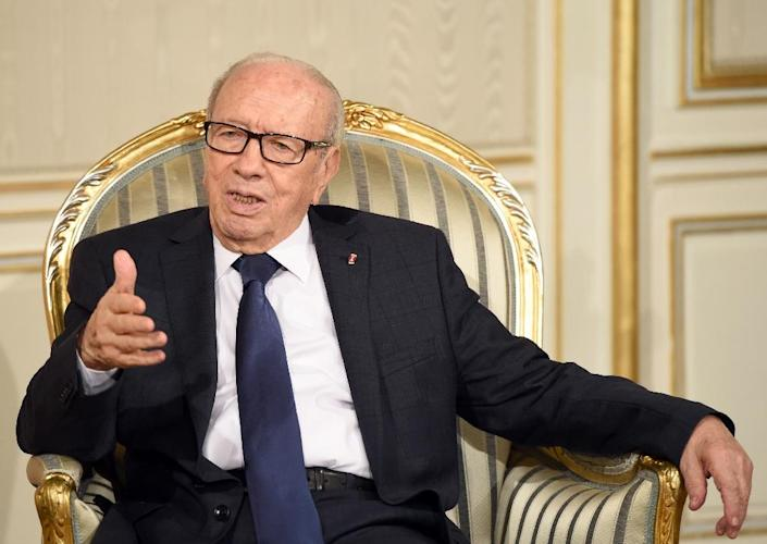 """Tunisian authorities arrested a popular comedian and a television show host for having """"offended"""" President Beji Caid Essebsi, pictured on February 13, 2015, at the Carthage Palace in Tunis (AFP Photo/Fethi Belaid)"""
