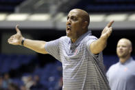 Pepperdine coach Lorenzo Romar reacts to a referee's call during the first half of the team's NCAA college basketball game against Arizona at the Wooden Legacy tournament in Anaheim, Calif., Thursday, Nov. 28, 2019. (AP Photo/Alex Gallardo)