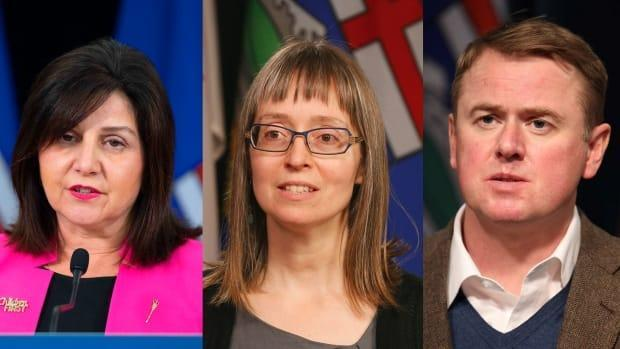 Education MinisterAdriana LaGrange, Chief Medical Officer of Health Dr. Deena Hinshaw and Health Minister Tyler Shandro updated the province's response to COVID-19 at a news conference Thursday. (CBC - image credit)