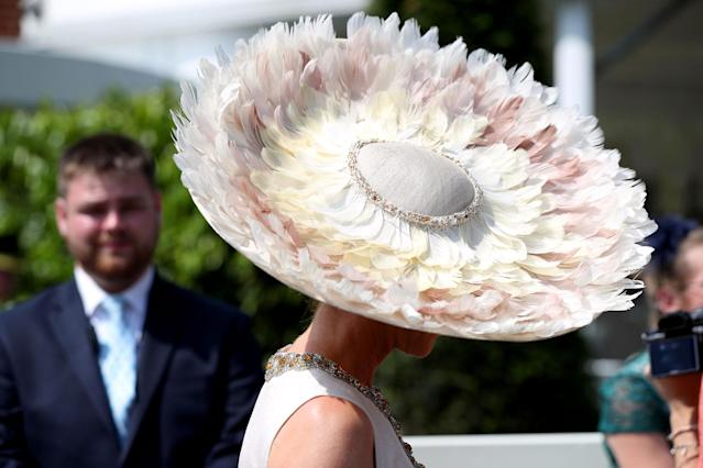 <p>A female racegoer's hat during day two of Royal Ascot at Ascot Racecourse. (Jonathan Brady/PA Images via Getty Images) </p>