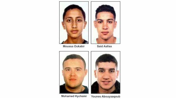 PHOTO: Suspects in the Barcelona attacks, from left, Moussa Oukabir, the suspected driver, as well as Said Aallaa, Mohamed Hychami and Younes Abauyaaqoub. (Spanish Police via EPA)