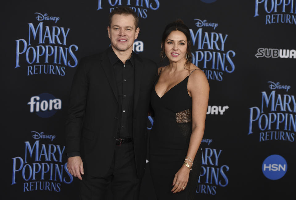 """Actor Matt Damon, left, and his wife Luciana Barroso pose together at the premiere of the film """"Mary Poppins Returns"""" at the Dolby Theatre, Thursday, Nov. 29, 2018, in Los Angeles. (Photo by Chris Pizzello/Invision/AP)"""