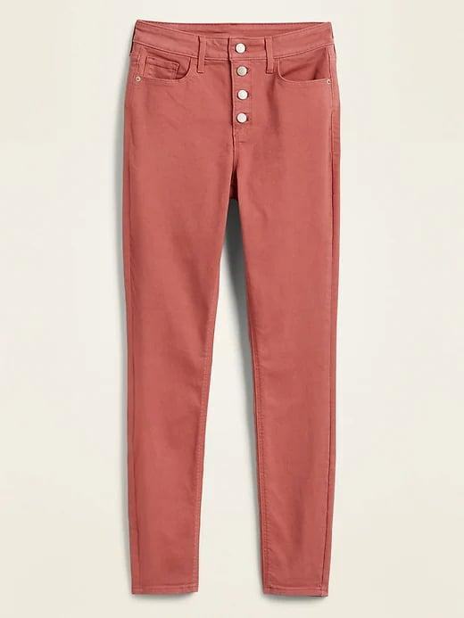 <p>Instead of traditional blue, why not add a different hue to your denim collection like a pair of these <span>Old Navy High-Waisted Button-Fly Pop-Color Rockstar Super Skinny Jeans</span> ($20, originally $40) in rusty pink?</p>