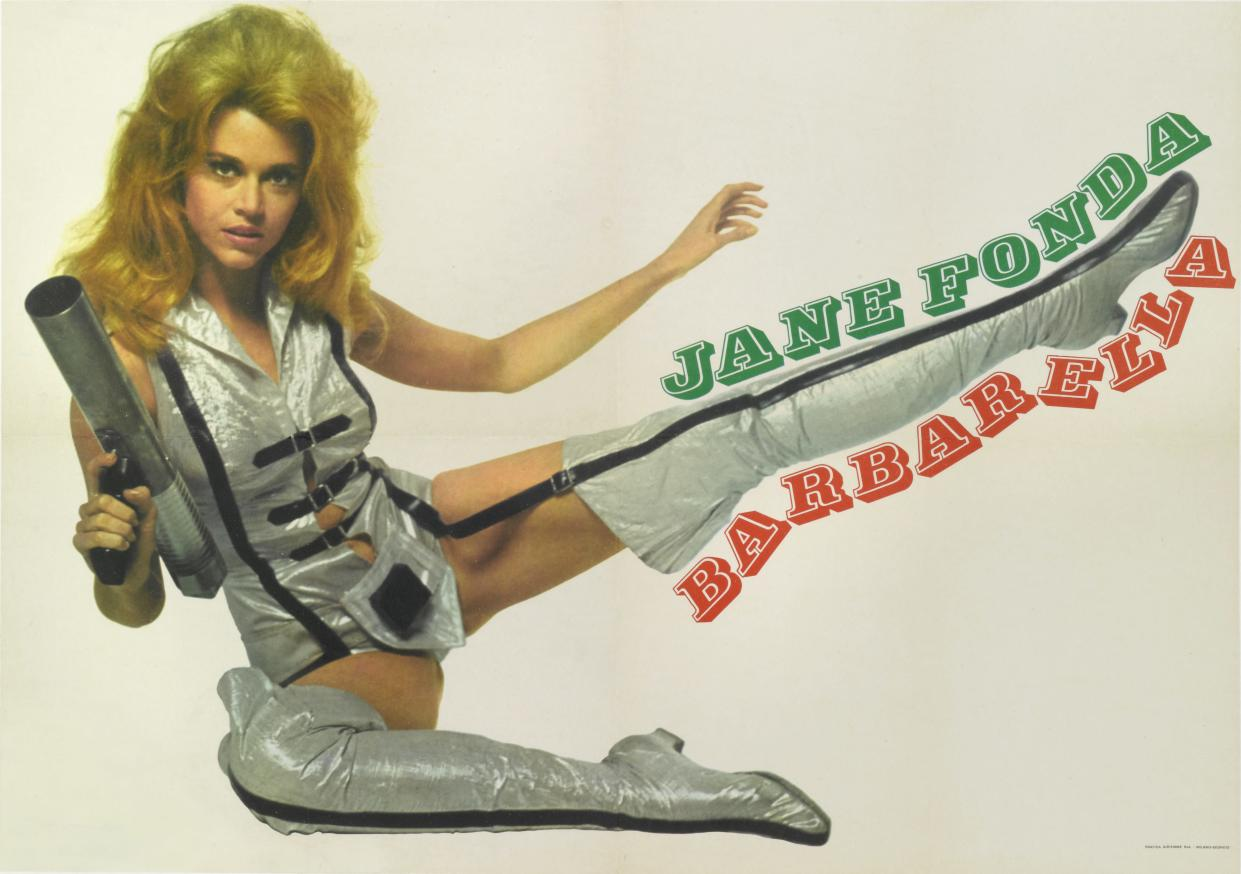 Actress Jane Fonda appears on an Italian poster for the 1968 science fiction fantasy film 'Barbarella', directed by Roger Vadim. (Photo by Movie Poster Image Art/Getty Images)