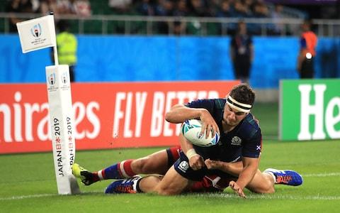 <span>Stuart McInally's final try was the best of Scotland's eight scores</span> <span>Credit: PA </span>
