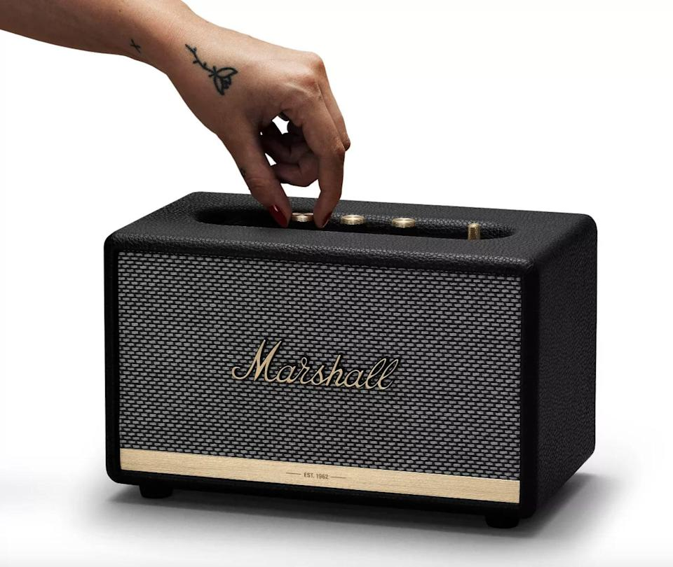 <p>Transform their home into a music festival with the iconic and beloved <span>Marshall Acton II Bluetooth Speaker</span> ($246). It delivers a well-balanced, powerful audio experience yet can fit perfectly on shelves, tables, and bars. Plus, it's so stylish, it doubles as decor. It has multihost functionality so they can easily connect and switch between two Bluetooth devices. In addition to the analogue control knobs, they can use the Marshall Bluetooth app to customize their listening experience or control the music they're listening to.</p>