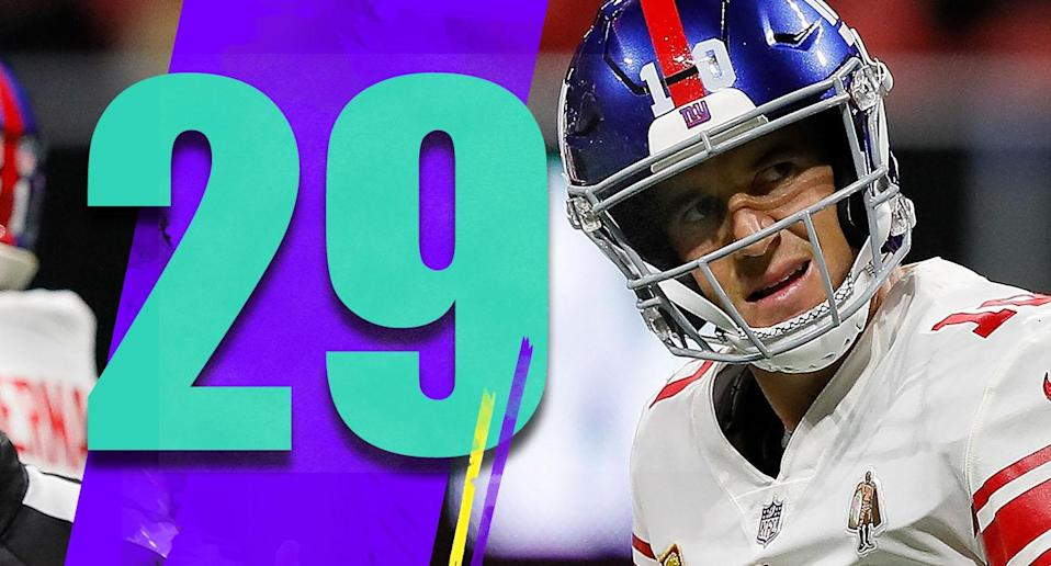 <p>There's not much gray area with Pat Shurmur's decision to go for two after the Giants cut the Falcons lead to 20-12. Going for two gives a team a much better chance to win. (Eli Manning) </p>