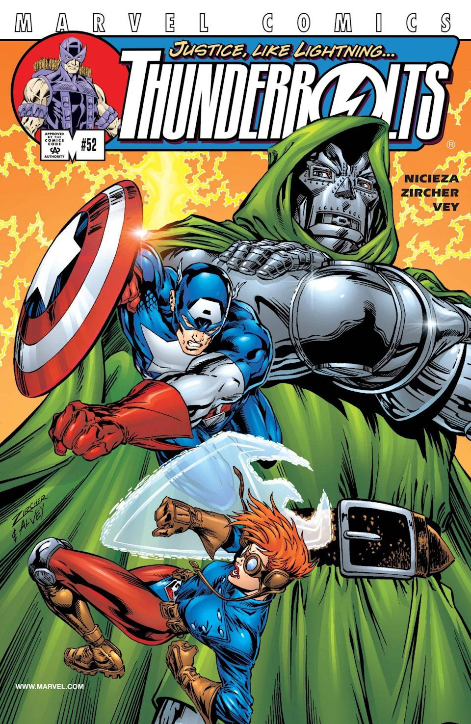 Captain America fights a foe on the cover of Thunderbolts.