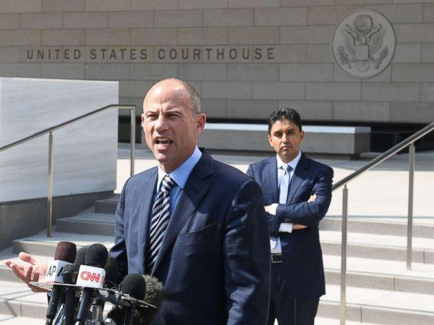 PHOTO: Michael Avenatti, the lawyer for adult film actress Stormy Daniels, speaks to the press after a court hearing at the United States Courthouse, July 27, 2018, in Los Angeles. (Mark Ralston/AFP/Getty Images)