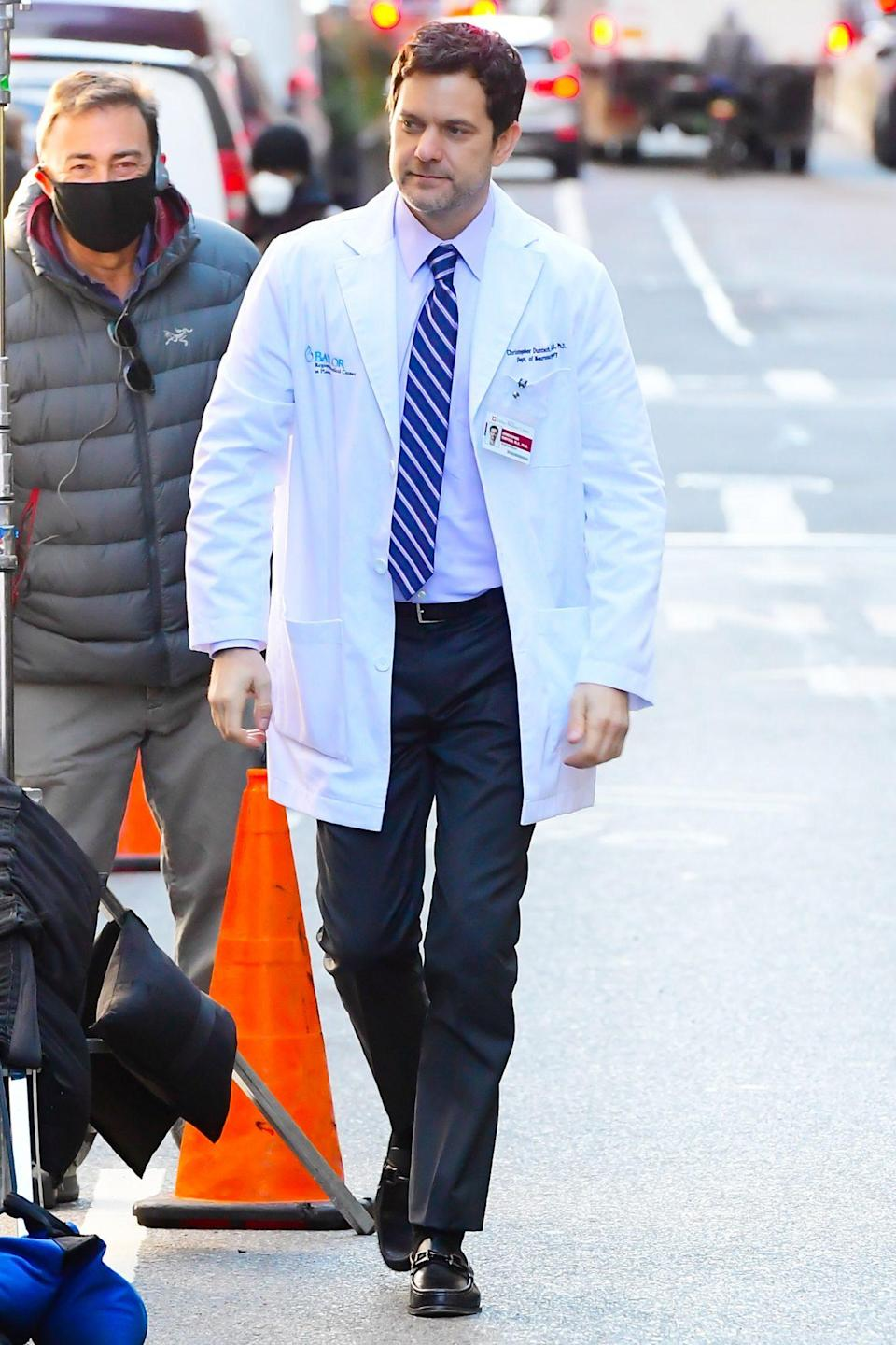 <p>Joshua Jackson is seen in character as he walks the set of <em>Dr. Death</em> on Thursday in N.Y.C.</p>