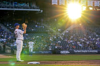 Light from the setting sun streams into the stadium as New York Mets first baseman Pete Alonso (20) applauds as Pedro Sierra, a member of the Negro Leagues, is honored between innings of a baseball game between the Mets and the Chicago Cubs, Thursday, June 17, 2021, in New York. (AP Photo/Kathy Willens)