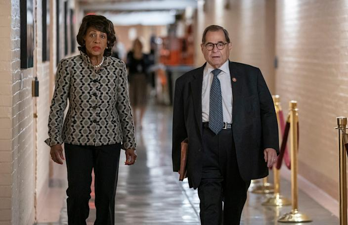Rep. Maxine Waters and Rep. Jerrold Nadler arrive at the Democratic Caucus on Sept. 10, 2019.
