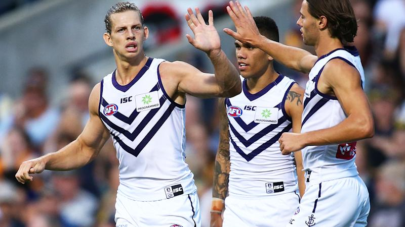 Nat Fyfe, pictured here in action for Fremantle Dockers in 2019.