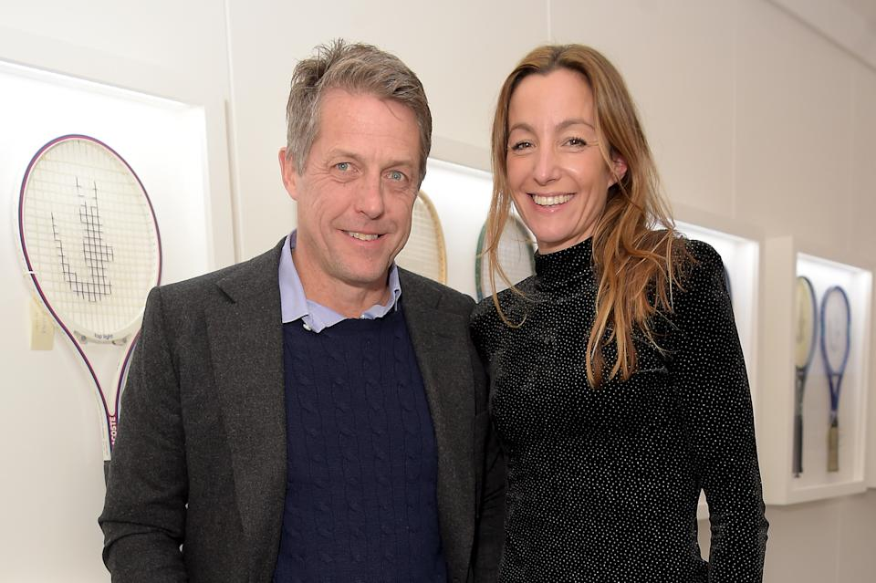 LONDON, ENGLAND - NOVEMBER 17: Hugh Grant and Anna Elisabet Eberstein attend the Lacoste VIP Lounge at the 2019 ATP World Tour Tennis Finals on November 17, 2019 in London, England. (Photo by David M. Benett/Dave Benett/Getty Images for Lacoste)