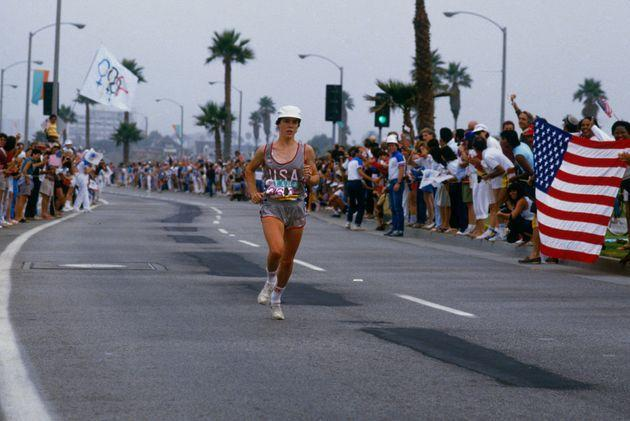 LOS ANGELES - 1984: Olympic gold medalist Joan Benoit runs the last leg of a marathon during the Summer Olympics XXIII circa 1984 in Los Angeles, California. (Photo by Focus on Sport via Getty Images) (Photo: Focus On Sport via Getty Images)