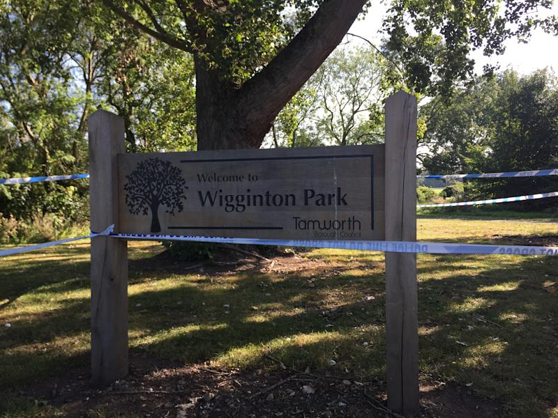 A police cordon in Wigginton Park, Tamworth, Staffordshire, where a 19-year-old woman died on Thursday evening (PA)