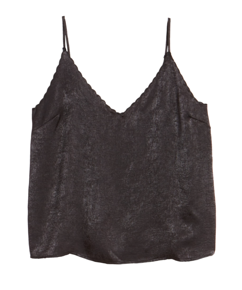 BP. Scalloped Satin Camisole in Black