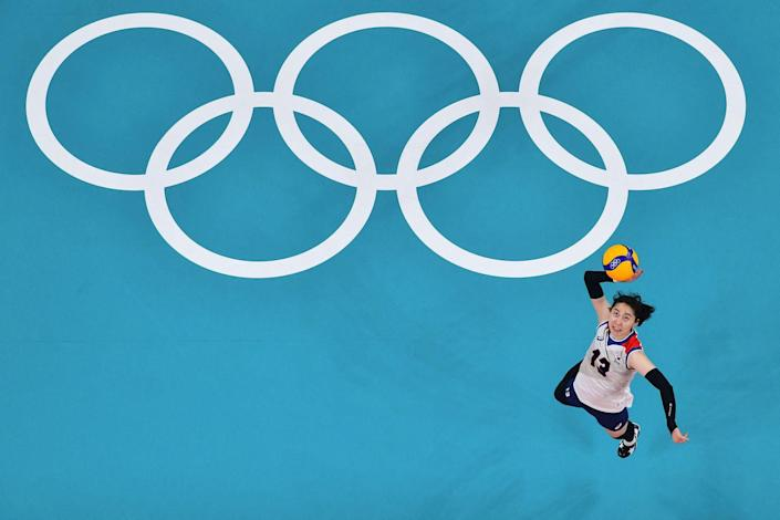 <p>South Korea's Park Jeong-ah serves in the women's semi-final volleyball match against Brazil.</p>