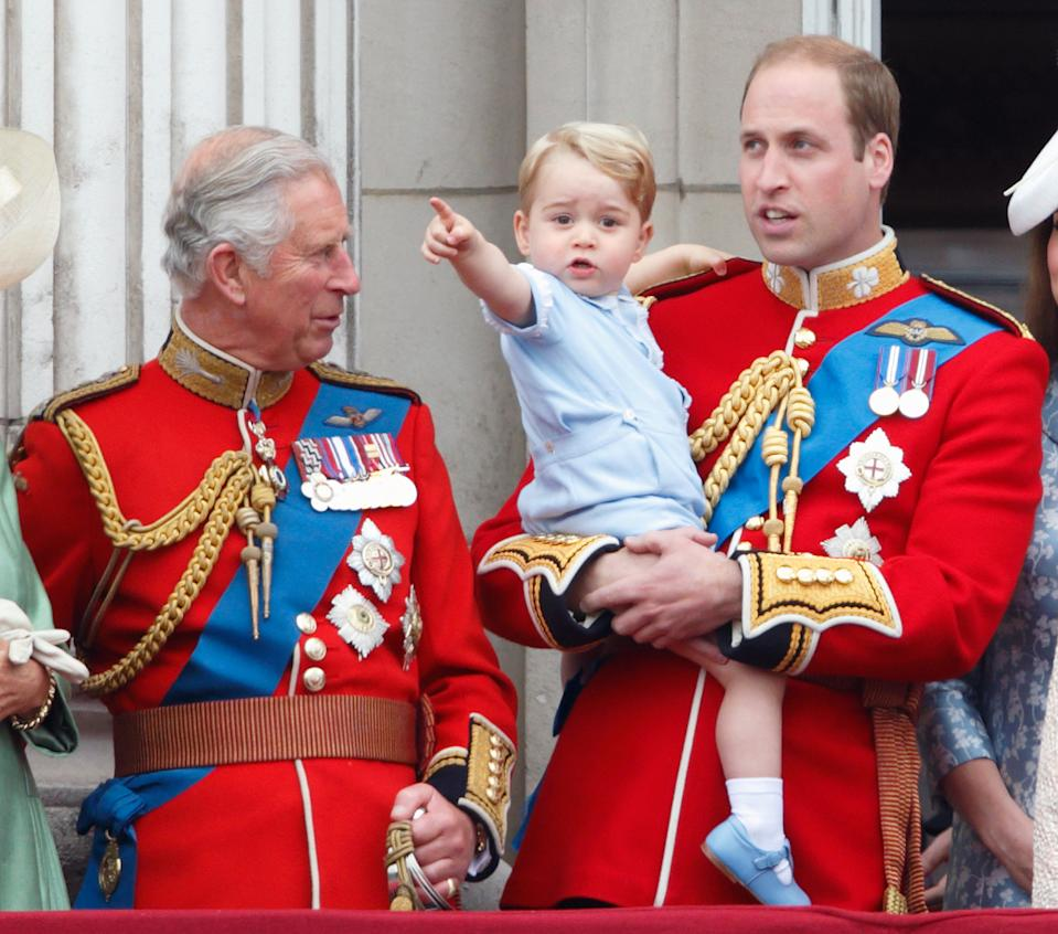 <p>Prince Charles was taken with his grandson's fascination at the 2015 Trooping the Colour. (Max Mumby/Indigo/Getty Images)</p>
