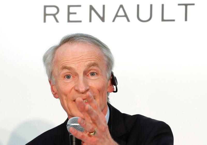 Renault Chairman Jean-Dominique Senard attends a joint news conference in Yokohama