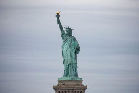 The Statue of Liberty is seen at New York Harbor in New York City