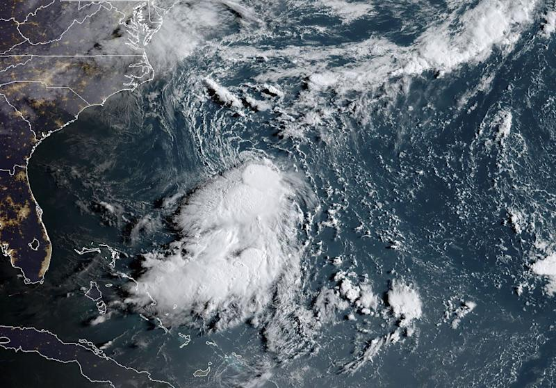 This satellite image obtained from NOAA/RAMMB, shows Tropical Storm Dorian as it approaches the Caribbean at 11:40 UTC on August 27, 2019.