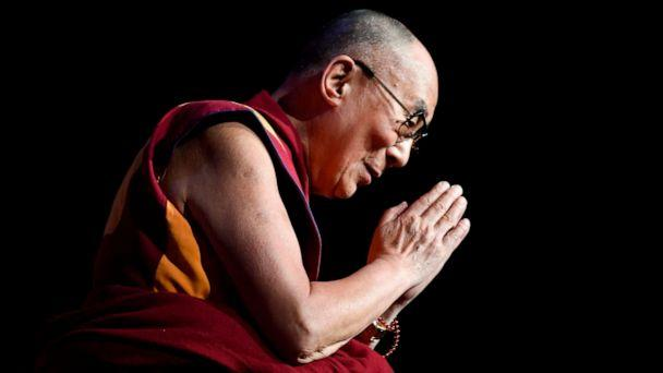 PHOTO: In this file photo taken on Sept 13, 2016 the Dalai Lama gestures during a group hearing at the Palais des Congres, in Paris. (Eric Feferberg/AFP/Getty Images,FILE)