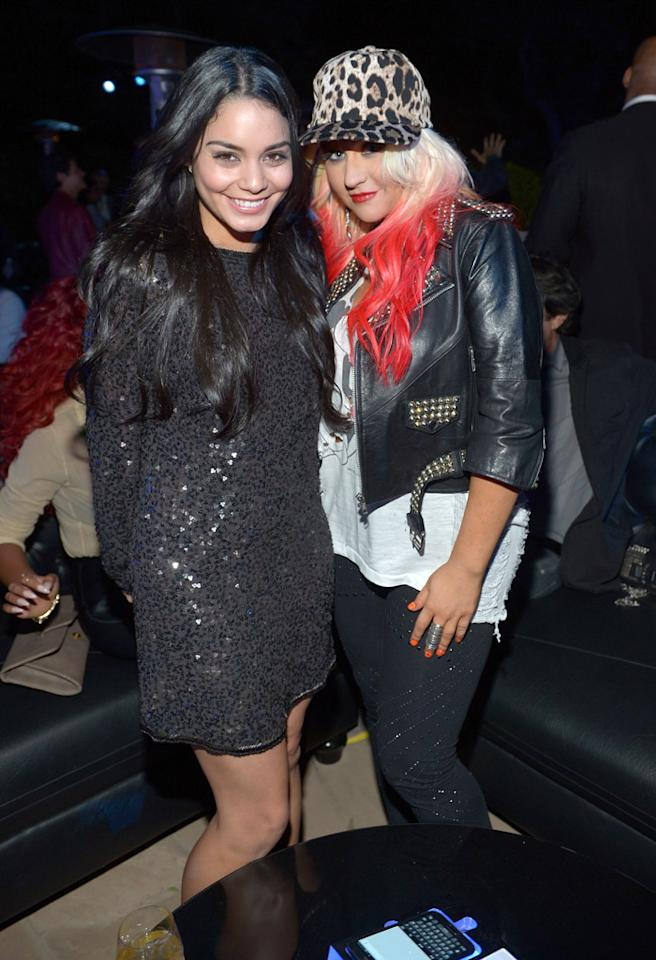 LOS ANGELES, CA - OCTOBER 25:  Actress Vanessa Hudgens (L) and singer Christina Aguilera attend the Samsung Galaxy Note II Beverly Hills Launch Party on October 25, 2012 in Los Angeles, California.  (Photo by Charley Gallay/Getty Images for Samsung)