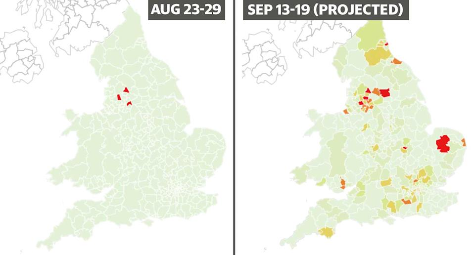 Map showing the percentage chance areas in England and Wales will become coronavirus hotspots in the week September 13 to 19, compared to mid August.