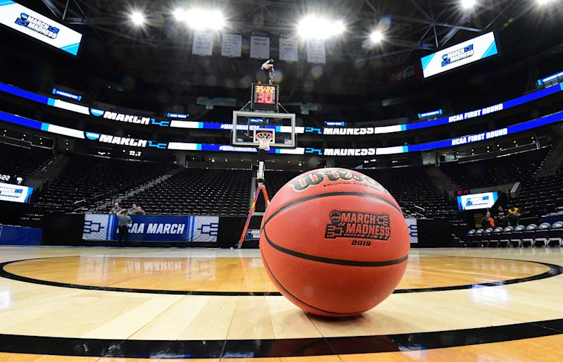 General view of a Wilson basketball with the March Madness logo before the first round of the 2019 NCAA tournament. (Photo: USA TODAY Sports)