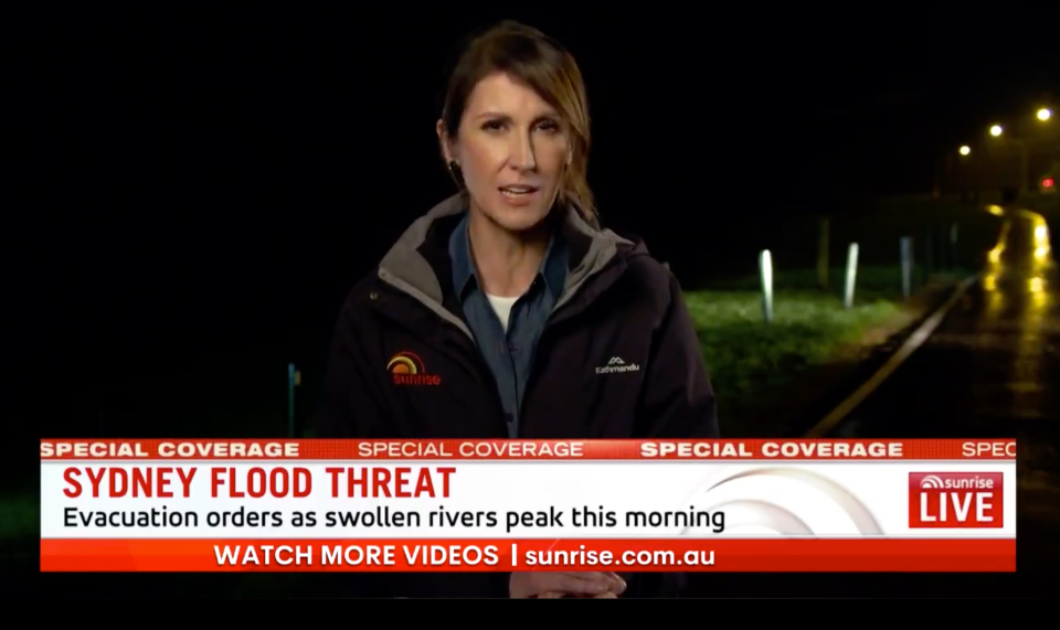 Sunrise co-host Natalie Barr reporting live from the flood disaster in Western Sydney