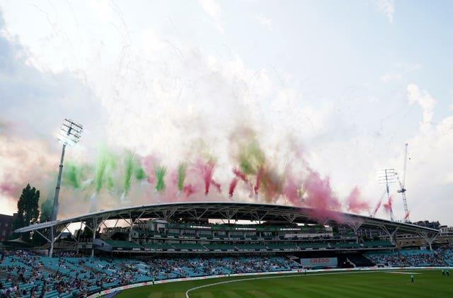 Fireworks above the stands before the match