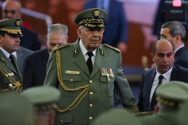 FILE PHOTO: Algeria's army chief Lieutenant-General Ahmed Gaed Salah during a swearing-in ceremony in Algiers