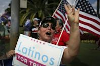 "Supporters of US President Donald Trump rally outside the ""Latinos for Trump"" roundtable event at Trump's golf resort in Doral, Florida"