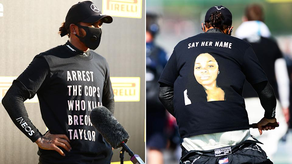 Lewis Hamilton is pictured here wearing the t-shirt that's caused a stir.