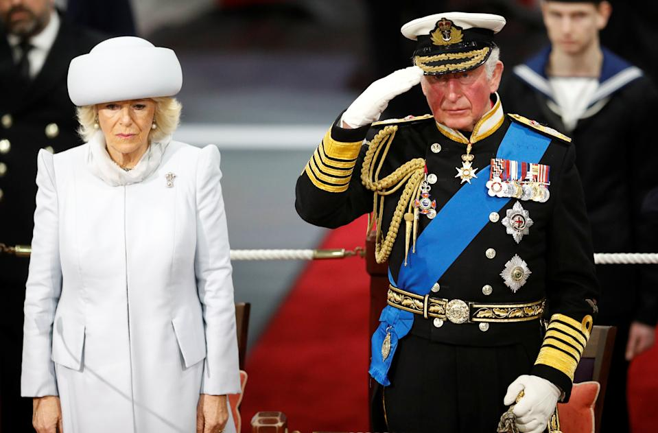PORTSMOUTH, ENGLAND - DECEMBER 10: Prince Charles, Prince of Wales and Camilla, Duchess of Cornwall attend the official commissioning ceremony of HMS Prince of Wales on December 10, 2019 in Portsmouth, England.  (Photo by Peter Nicholls - WPA Pool/Getty Images)