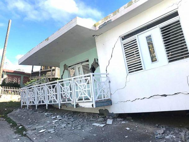PHOTO: A house is seen collapsed on its foundation after an earthquake in Guanica, Puerto Rico, Jan. 6, 2020. (Ricardo Ortiz/Reuters)