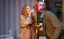 """<p>Channel a pregnant Wanda Maximoff from <em>WandaVision </em>with a chic striped dress, and get your S.O. in on the fun with a tweed jacket over a sweater and some red face paint. </p><p><a class=""""link rapid-noclick-resp"""" href=""""https://www.magicwardrobes.com/wanda-vision-scarlet-witch-wanda-maximoff-halloween-cosplay-costume-striped-maternity-dress-p-2322.html"""" rel=""""nofollow noopener"""" target=""""_blank"""" data-ylk=""""slk:SHOP DRESS"""">SHOP DRESS</a></p><p><a class=""""link rapid-noclick-resp"""" href=""""https://www.amazon.com/dp/B00P5ZYDK8?tag=syn-yahoo-20&ascsubtag=%5Bartid%7C10070.g.28589425%5Bsrc%7Cyahoo-us"""" rel=""""nofollow noopener"""" target=""""_blank"""" data-ylk=""""slk:SHOP JACKET"""">SHOP JACKET</a></p>"""