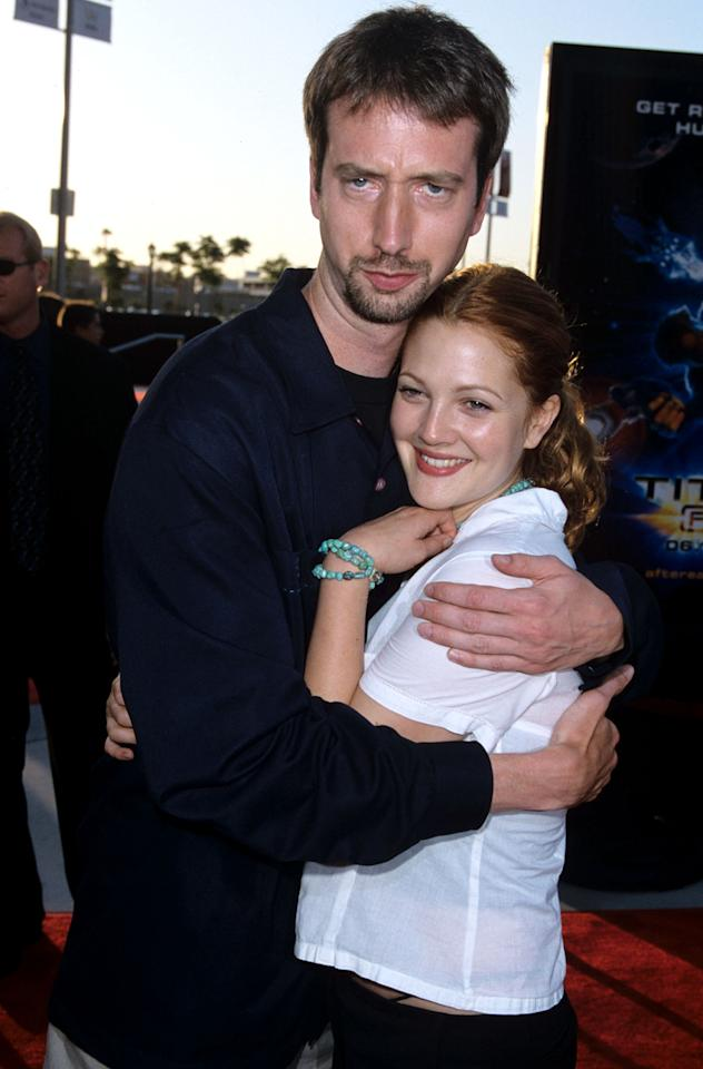 "Drew Barrymore, who won a Golden Globe for her performance in ""Grey Gardens,"" is newly married and a mom. But she previously tied the knot with Tom Green in 2001. The two were married less than six months and divorced later that year. Green said in a statement, ""Drew is a wonderful woman. I love her very much. I wish our marriage could have worked out; I wish her much happiness."""