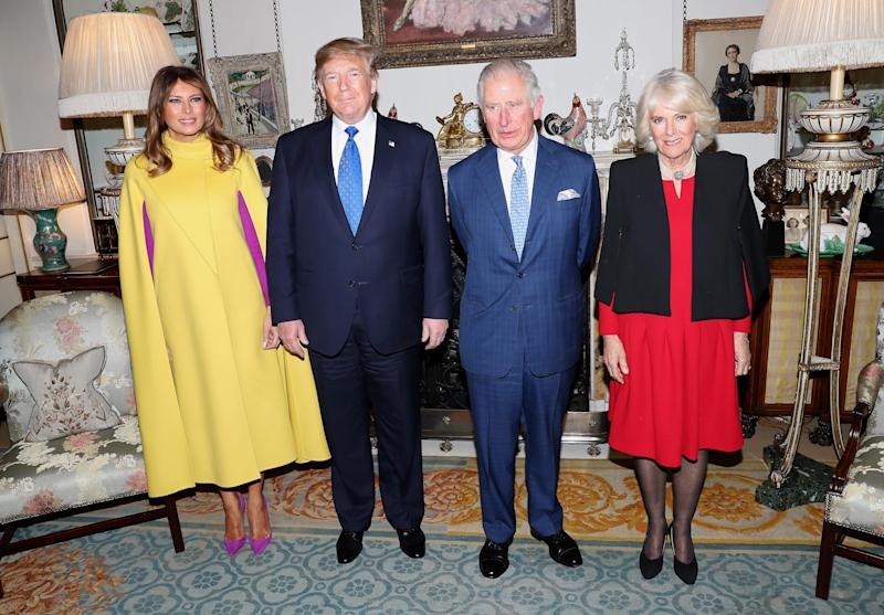 First lady Melania Trump, President Donald Trump, Prince Charles and his wife, Duchess Camilla of Cornwall met at Clarence House for tea on Dec. 3, 2019 in London, ahead of a reception for NATO leaders at Buckingham Palace.