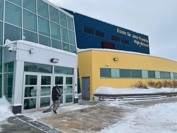 Sir John Franklin High School in Yellowknife. Students there have now gone six months with part-time classes only, learning remotely the rest of the time. That's unlikely to change before the end of the school year.  (Sara Minogue/CBC - image credit)