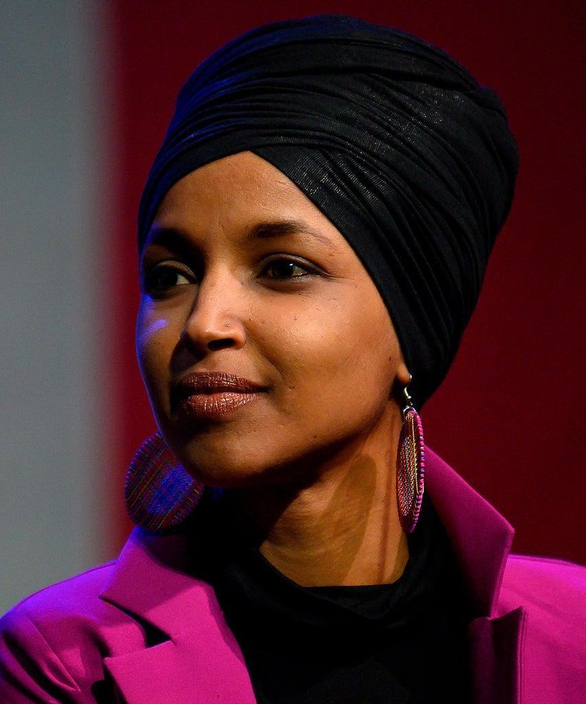 Congresswoman Ilhan Omar, D-MN, speaks to supporters of Democratic presidential candidate Senator Bernie Sanders at a campaign event in Clive, Iowa, on January 31, 2020. (Photo by JIM WATSON / AFP) (Photo by JIM WATSON/AFP via Getty Images)