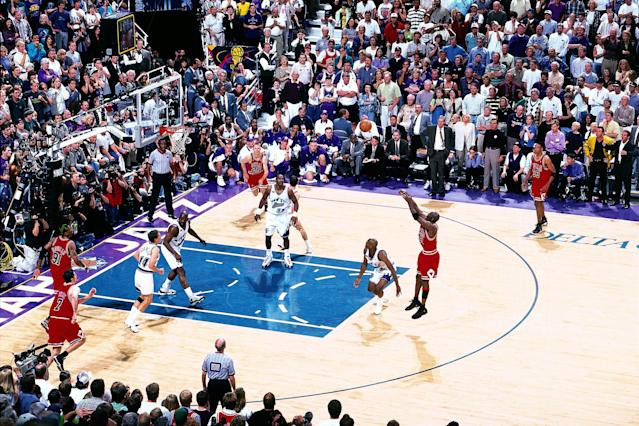 Twenty years ago today, Michael Jordan shot the game- and championship-winning jumper to beat the Utah Jazz in Game 6 of the 1998 NBA Finals, clinching the Chicago Bulls' sixth NBA title and his sixth NBA Finals MVP award. (Scott Cunningham/NBAE/Getty Images)