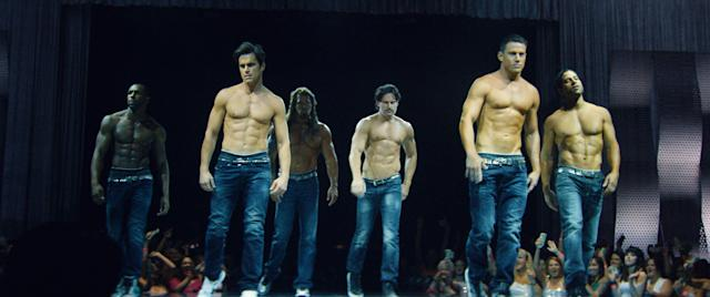 The cast of <em>Magic Mike XXL</em> strikes a pose. (Photo: Warner Bros. Pictures/courtesy Everett Collection)