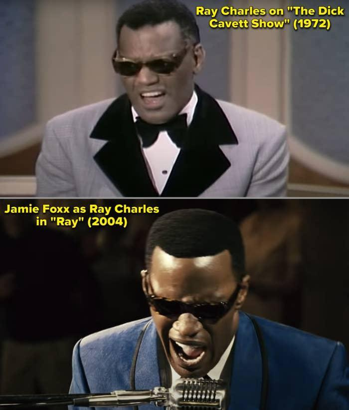 A side-by-side of Ray Charles and Jamie Foxx as Ray Charles