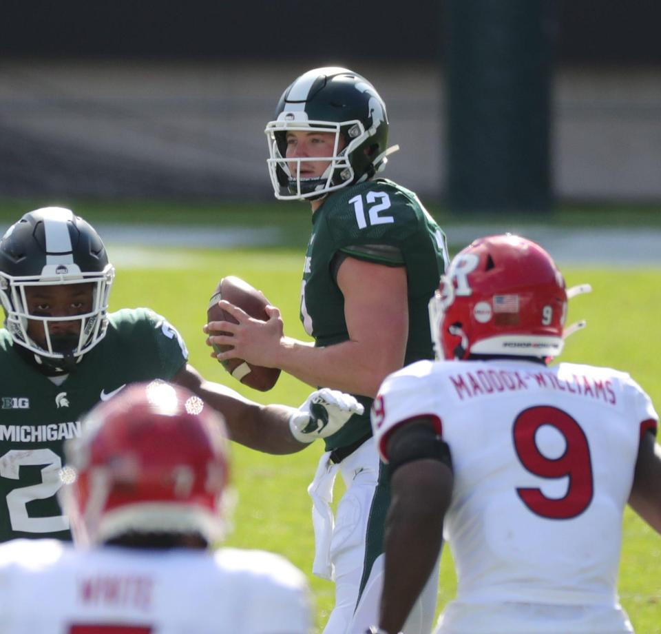 Michigan State quarterback Rocky Lombardi looks to pass during the 38-27 loss to Rutgers on Saturday, Oct. 24, 2020, at Spartan Stadium.