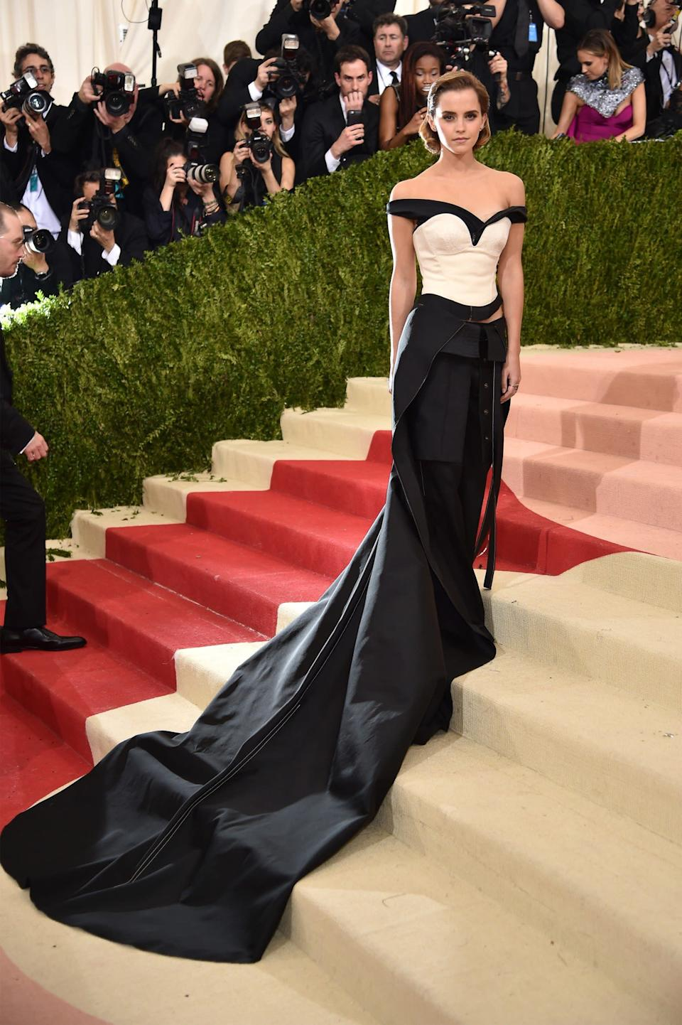 Watson wore a Calvin Klein dress made from recycled plastic bottles to the 2016 Met Gala - Getty